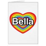 I love Bella: rainbow heart Greeting Cards