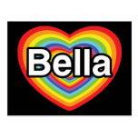 I love Bella: rainbow heart Post Card