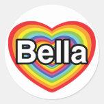 I love Bella: rainbow heart Stickers