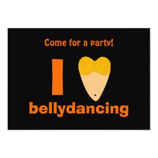 I Love Bellydancing Dancer Torso (I Heart) 5x7 Paper Invitation Card