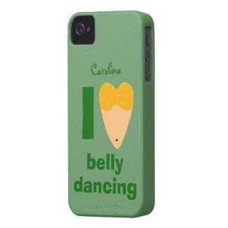 I Love Bellydancing Whimsical Dancer Custom Name iPhone 4 Cover