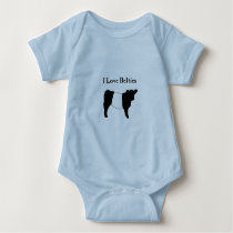 I Love Belties - Black White Belted Galloway Cows Baby Bodysuit