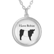 I Love Belties - Black White Belted Galloway Cows Silver Plated Necklace