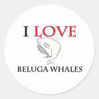 I Love Beluga Whales Round Stickers