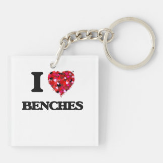 I Love Benches Double-Sided Square Acrylic Keychain