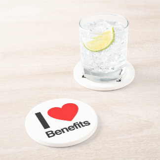 i love benefits beverage coaster