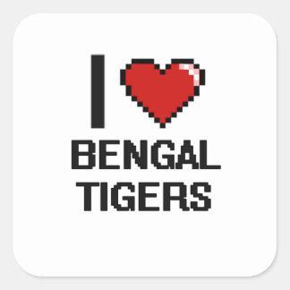I love Bengal Tigers Digital Design Square Sticker