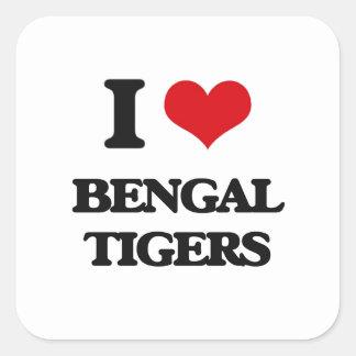I love Bengal Tigers Square Sticker