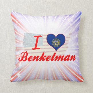 I Love Benkelman, Nebraska Throw Pillows