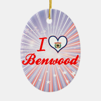 I Love Benwood, West Virginia Double-Sided Oval Ceramic Christmas Ornament