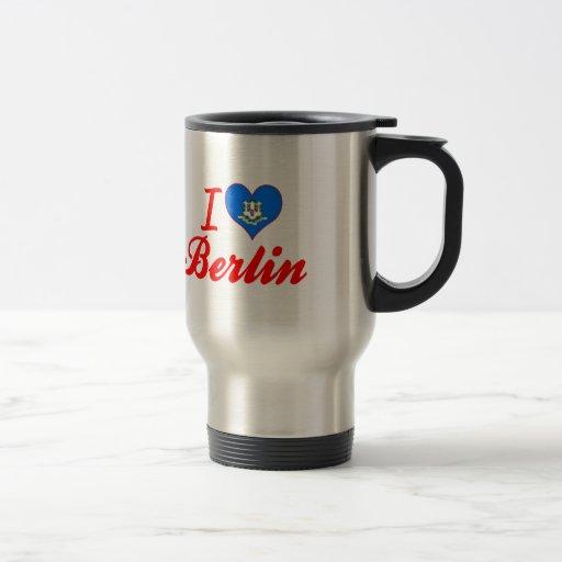 I Love Berlin, Connecticut 15 Oz Stainless Steel Travel Mug