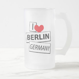 I Love Berlin Germany Frosted Glass Beer Mug
