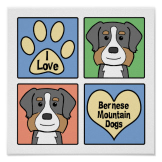 I Love Bernese Mountain Dogs Poster