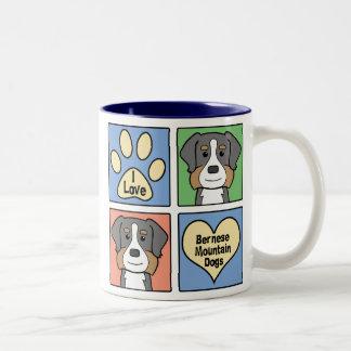 I Love Bernese Mountain Dogs Two-Tone Coffee Mug