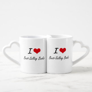 I Love Best-Selling Books Artistic Design Couples' Coffee Mug Set