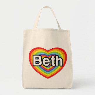 I love Beth: rainbow heart Grocery Tote Bag