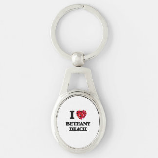 I love Bethany Beach Delaware Silver-Colored Oval Metal Keychain