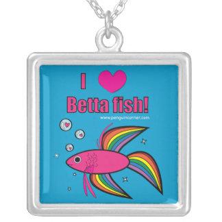I Love Betta Fish Pendants