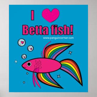 I Love Betta Fish Poster