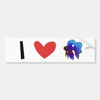 I Love Betta Fish / Siamese Fighting Fish Bumper Sticker