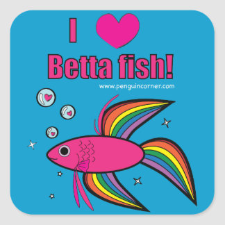 I Love Betta Fish Square Stickers