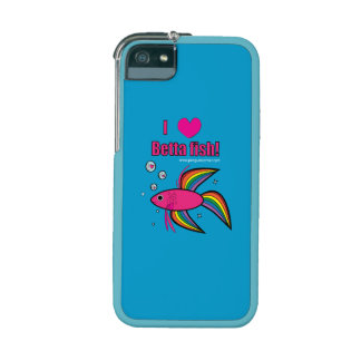 I Love Betta Fish with Heart-Filled Bubbles iPhone 5 Case