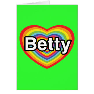I love Betty: rainbow heart Card