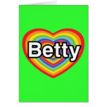I love Betty: rainbow heart Cards
