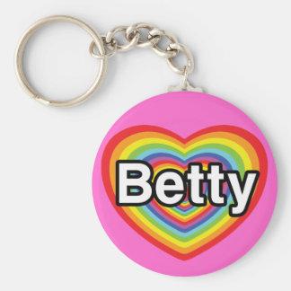 I love Betty: rainbow heart Key Chains