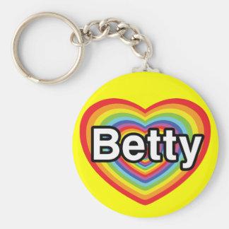 I love Betty: rainbow heart Keychain