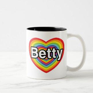 I love Betty: rainbow heart Two-Tone Coffee Mug