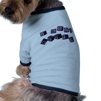 I love Betty toy blocks in blue. Doggie T-shirt