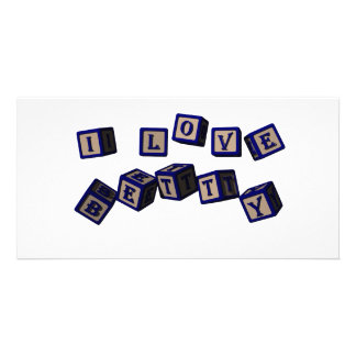 I love Betty toy blocks in blue. Photo Greeting Card