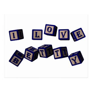 I love Betty toy blocks in blue. Postcards