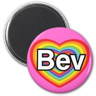 I love Bev: rainbow heart 2 Inch Round Magnet