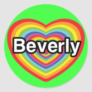 I love Beverly: rainbow heart Round Stickers