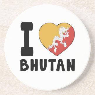 I Love Bhutan Beverage Coasters
