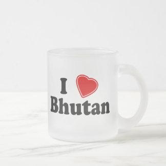 I Love Bhutan Frosted Glass Coffee Mug