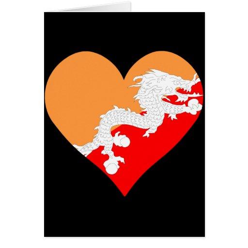 I Love Bhutan Heart Cards