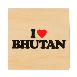 I LOVE BHUTAN MAPLE WOOD COASTER
