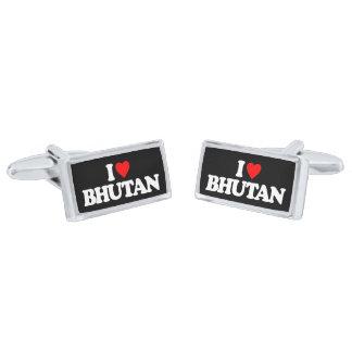 I LOVE BHUTAN SILVER CUFFLINKS