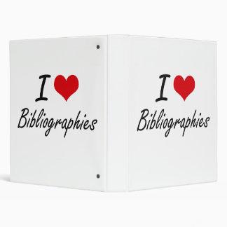 I Love Bibliographies Artistic Design Vinyl Binder