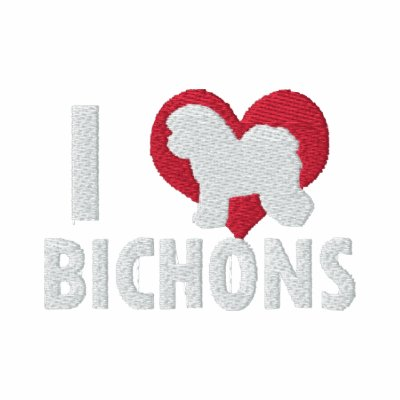 I Love Bichons Embroidered Hoody