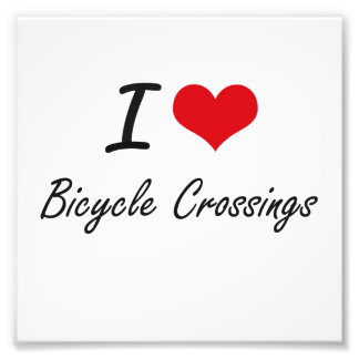 I Love Bicycle Crossings Artistic Design Photo Print