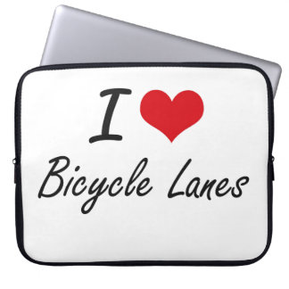 I Love Bicycle Lanes Artistic Design Laptop Computer Sleeve