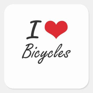 I Love Bicycles Artistic Design Square Sticker