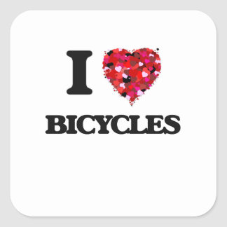I Love Bicycles Square Sticker