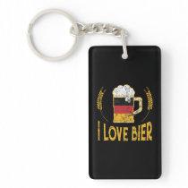 I Love Bier German Flag Beer Lover Oktoberfest Keychain