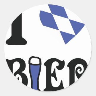 I love bier icon round sticker