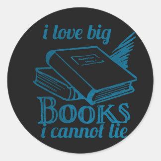 I love big book cannot lie blue Chalkboard Classic Round Sticker
